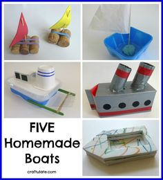Five Homemade Boats - easy craft ideas for kids to make this summer