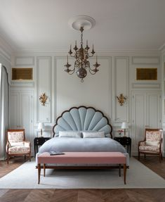 One of the guest bedrooms at our Paris townhouse project. Photo by Room Ideas Bedroom, Bedroom Wall, Bedroom Decor, Master Bedroom, Bedroom Interiors, Kids Bedroom, Paris Bedroom, Interior Decorating, Interior Design