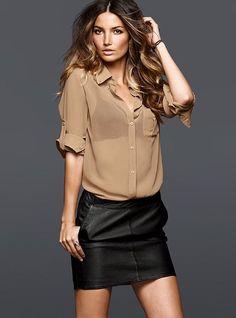 sheer blouse & leather miniskirt