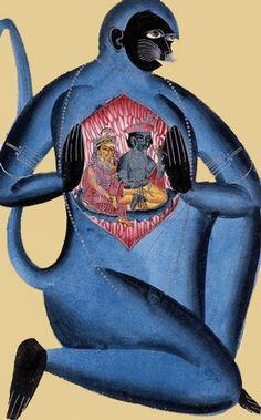 Hanuman Showing his Heart Kalighat, Calcutta, c. 1870