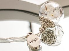 925 Sterling silver Necklace with real dandelion seeds, charm 'wish' or 'desired letter' , Jewelry Glass Globe Pendant, blown ball, Dandelion Necklace, Cute Jewelry, Diy Jewelry, Globe Pendant, Glass Globe, Opal Rings, Sterling Silver Necklaces, Jewelry Design, Etsy