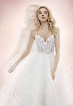 Style 1700 Pepper Blush by Hayley Paige bridal gown -Ivory Marrakesh beaded bridal ball gown, scalloped sweetheart neckline and spaghetti strap detail, cascading tulle skirt with thin horsehair trim.