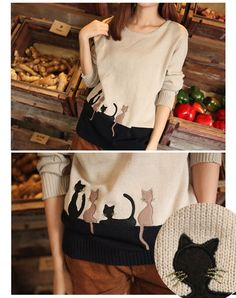 $9.93Korea Women's Cat Print Round Neck Casual Loose Knit Pullover Sweater Tops Hot