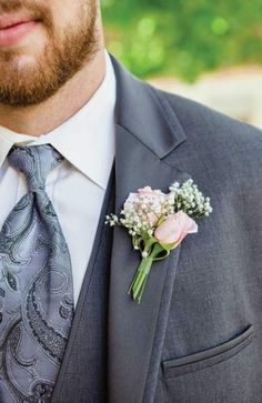 Brosche Boutonniere Hochzeit Ansteckblume Rispiges Gipskraut Anzug Deko Männer