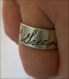 Memorial Jewelry Ring Your Loved Ones Actual Signature or Written Message on a Silver Ring