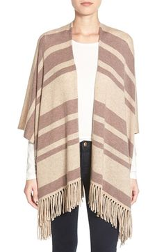 Halogen® Stripe Open Front Wool & Cashmere Poncho available at #Nordstrom