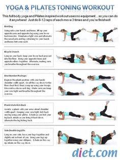 Yoga  Pilates Toning Workout - seems easy enought to memorize