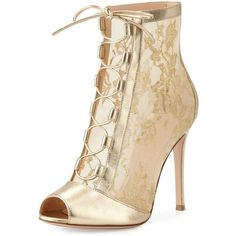 Gianvito Rossi Chantilly Lace Tie-Front Bootie ($1,065) ❤ liked on Polyvore featuring shoes, boots, ankle booties, mekong gold, shoes boots ankle, lace up boots, peep toe bootie, lace-up booties, lace up booties and lace-up bootie