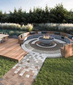 Backyard Patio Designs, Backyard Landscaping, Modern Fire Pit, Backyard Buildings, Fire Pit Designs, Fire Pit Backyard, Outdoor Living, Outdoor Fire, Outdoor Decor