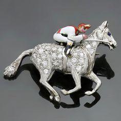 Rare 1930s CARTIER Art Deco Diamond Enamel Platinum Horse & Jockey Brooch in Jewelry & Watches, Fine Jewelry, Fine Pins & Brooches | eBay