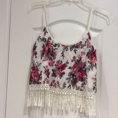Pacsun cropped fringe top Super pretty! Floral design, never been worn! PacSun Tops Crop Tops