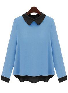 Blue Contrast Lapel Long Sleeve Chiffon Blouse US$23.44