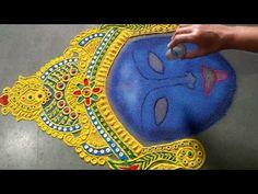 Rangoli Ideas, Rangoli Designs, Kali Chaudas Rangoli, Kali Ma, Special Rangoli, Navratri Special, Durga Goddess, Diwali, Portrait