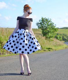 polka dot skirt and bardot top