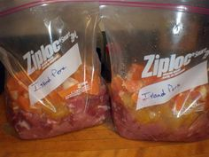 Crockpot Island Pork for the Freezer (makes 2 meals)    6lbs pork roast cut into bite size pieces  2 oranges, peeled and cut into pieces  2 cans (14oz) crushed pineapple  4T soy sauce  1 t ground cloves  ½ t pepper  4T cornstarch  4T water    Divide ingredients between 2 1-gallon size zip lock bag. Seal bag. Squish the ingredients together and freeze. On cooking day, dump contents of bag into crockpot and cook on low for 8 hours. Serve over brown rice.