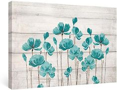 Amazon.com : french country bedrooms colors Teal Wall Decor, Flower Wall Decor, Floral Wall Art, Flower Painting Canvas, Flower Canvas, Canvas Paintings, Large Wall Art, Framed Wall Art, Wall Canvas