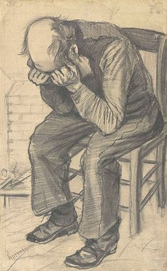 Worn Out - Vincent van Gogh . Created in The Hague in November, Located at Van Gogh Museum. Find a print of this Pencil on watercolour paper Drawing Van Gogh Drawings, Van Gogh Paintings, Pencil Drawings, Van Gogh Art, Art Van, Figure Drawing, Painting & Drawing, Theo Van Gogh, Van Gogh Museum
