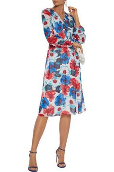 Mikael Aghal Pleated Ruffle-trimmed Floral-print Georgette Dress In Blue Blue Dresses, Summer Dresses, Ruffle Trim, Floral Prints, Rainbow, Woman, Fabric, Clothes, Collection