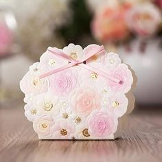 pink and gold wedding favor box ewfb123