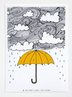 Items similar to yellow umbrella - illustration by: tar .-Ähnliche Artikel wie Yellow Umbrella – Illustration von: Taren S. Black auf Etsy Yellow Umbrella Illustration by: Taren S. Black by osloANDalfred - Doodle Art, Doodle Drawings, Doodle Books, Doodle Sketch, Yellow Umbrella, Umbrella Art, Drawing Umbrella, Dibujos Zentangle Art, Illustration Art
