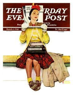 """Cover Girl"" Saturday Evening Post Cover, March 1,1941 Giclee Print by Norman Rockwell at Art.com"