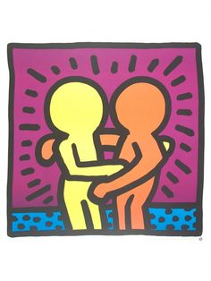 KEITH HARING - 'Best buddies' - original offset lithograph - c1989 (Roy Lichtenstein interest)