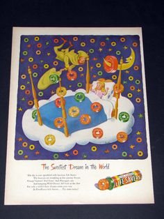 1947 VINTAGE LIFE SAVERS SWEETEST DREAM IN THE WORLD FANTASY ART PRINT AD