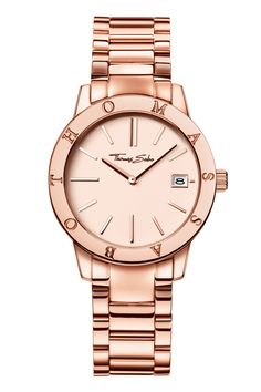 """German jeweller Thomas Sabo has added another half-dozen designs to its already giant watch offer. This time theemphasis is onthe """"gold look"""". Watch of the collectionThe men's Glam and Soulrange is highlighted by a42mm steel watch with rose gold colouring and an attractive """"sun ray"""" pattern dial in anthracite. It looks best onthe matching mesh bracelet – although aleather strap is available,too.  £239. thomassabo.com"""