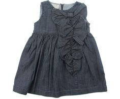 Elsy Baby Girls Blue Soft Denim Frill Dress With Bow