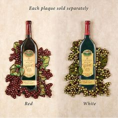 The handcrafted Wine Bottle Wall Plaque features a grand reserve vintage bottle surrounded by grapes and leaves. Resin wall accent is hand-painted and has a lacquer finish. Grape Kitchen Decor, Wine Bottle Wall, Bar, Wine Decor, Vintage Bottles, Wall Plaques, Red And White, Resin, Leaves
