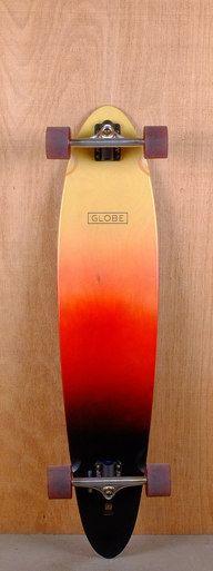 "The Globe Prebuilt 40"" Pinner Red Black Spray Longboard is designed for cruising…"