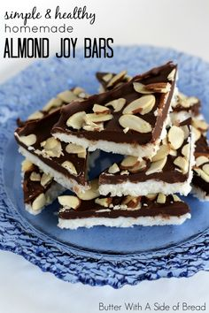 Simple & Healthy!! Homemade Almond Joy Bars :: Butter With A Side of Bread #recipe #coconut