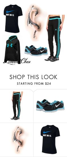 """The Black And Blue Design."" by lucadie-chan on Polyvore featuring adidas and NIKE"