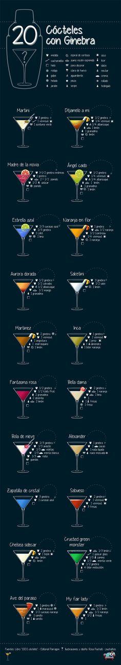 20 cócteles con Ginebra #infografia #infographic