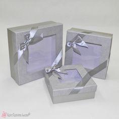 Γκρι τετράγωνα κουτιά με διάφανο καπάκι Decorative Boxes, Gift Wrapping, Gifts, Home Decor, Gift Wrapping Paper, Presents, Decoration Home, Room Decor, Wrapping Gifts