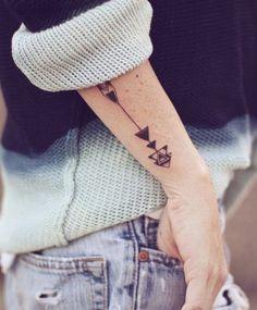 Geometric Black Arrow Tattoos On Arm