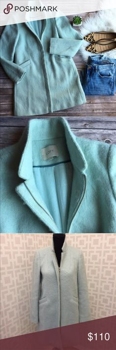 🆕 Ann Taylor LOFT blue zip winter coat XS Like new! Retail $175.00! Super soft fuzzy look. LOFT Jackets & Coats Pea Coats