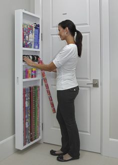 Use the back of your door to create additional storage in any room of your house. 42 Insanely Clever Storage Ideas For Your Whole House Craft Room Storage, Storage Spaces, Behind Door Storage, Hidden Cabinet, Diy Rangement, Kitchen Cabinet Storage, Cabinet Shelving, Kitchen Pantry, Storage Cabinets