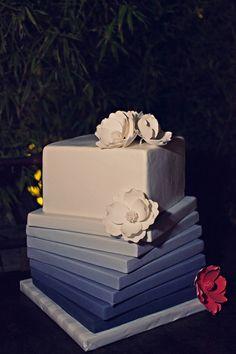 Square Cake Cutting Blue Cakes Ombre Food Drink Wedding cakepins.com