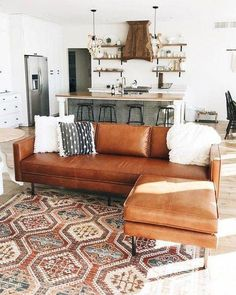 Ideas living room couch with chaise west elm Living Room Lighting, Living Room Sofa, Rugs In Living Room, Home And Living, Living Room Designs, Living Room Ideas Brown Leather Couch, Brown Leather Couches, Leather Rugs, Small Living