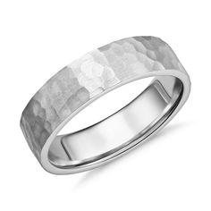 6e06c32c2b3bf8 Matte Hammered Flat Comfort Fit Wedding Ring in Platinum (6mm)