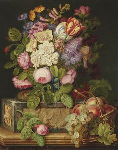 Michel Joseph Speeckaert (1748-1838) — Roses, Tulips and Other Flowers on a Sculpted Plinth, with a Nest and Peaches and Grapes in a Wicker Basket,  1824  (808×1024)
