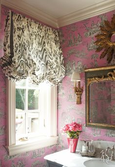 "draperyconnection: "" A powder room in a residence of #LakeForest #IL. Lovely pink #toile wallpaper and animal print fabric for the balloon shade. xxDC """