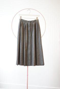 8fa6d85371 Backtalk PDX Vintage Wool Blend Button Up Skirt - grey