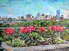 Boston city view from garden using recycled paper