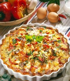 Hungarian Recipes, Hungarian Food, Paella, Quiche, Feta, Good Food, Breakfast, Kitchens, Red Peppers