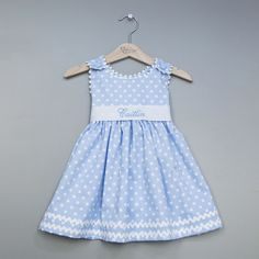 USA hand made Classic Blue Sash Dresses -Can Be Personalized - Awesome! Baby Provence Loves It !