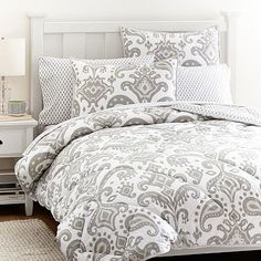 Goa Ikat Comforter + Sham, Grey- Do gray/neutral colored bedding, and then choose a few bright colors to get all of our accessories in!