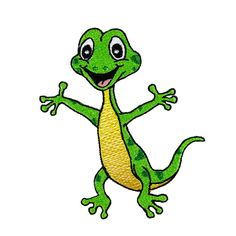 cartoon funny green lizard posing isolated on whit  aff