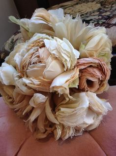 """Translated from Japanese as """"exhausted"""" wheat rose--favulous notion roses that gave given their all to bloom."""